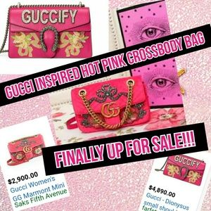 Handbags - NEW HOT PINK Embroidered Crossbody Satin Handbag